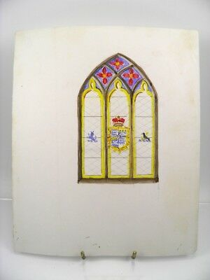 Stained glass window design early 20th century watercolour painting antique