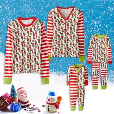 Christmas Family Stripe Pyjamas PjS Kids Boys Girls Mums Dads Xmas Nightwear New