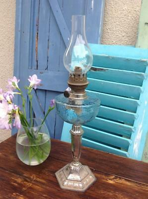 Antique French Silver Plated Depose HK Oil Lamp Blue Glass Arts And Crafts Chic