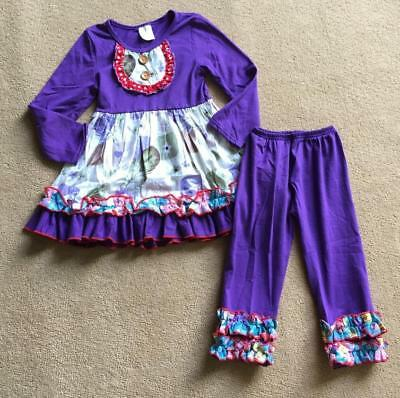 W-246 Girl 2PC Purple w/Feather Outfit w/Ruffles Size 3T and 4T (Free Shipping)