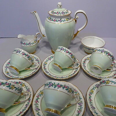 Vintage Tuscan China Coffee Set, Handpainted Pattern, Mint Green and Gold