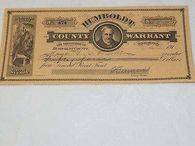 Humboldt County State of Nevada Warrant of Payment 1916  First Edition no.474
