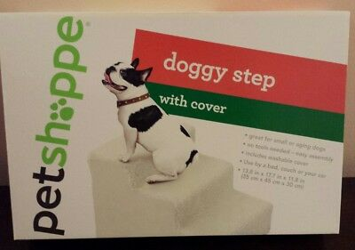 Pet Shoppe Doggy Step for Small or Aging Dogs w/ Washable Cover Dog Puppy Stairs