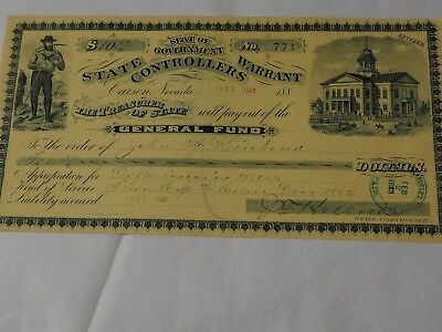 1888 STATE CONTROLLERS WARRANT CARSON NEVADA General Fund WARRANT To Pay $10