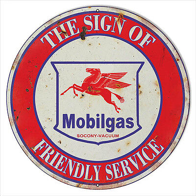 Extra Large Reproduction Mobilgas Friendly Service Motor Oil Sign 24