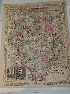 """1863 JOHNSON'S ILLINOIS Hand Colored by Johnson and Ward  14"""" x 18"""""""