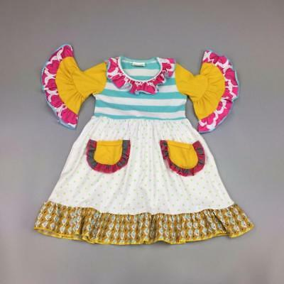 W-236 Girl's Colorful Flowing Sleeves Dress w/Pockets Sizes 3T  (Free Shipping)