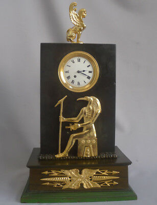 Antique English George III Egyptian style mantel clock.