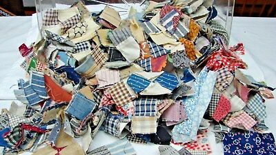 ANTIQUE & EARLY VINTAGE LOT 100s TINY POSTAGE STAMP SIZE QUILT BLOCKS