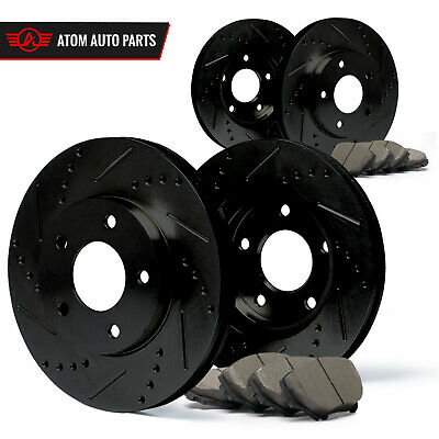 2011 2012 2013 Fits Kia Sorento (Black) Slot Drill Rotor Ceramic Pads F+R