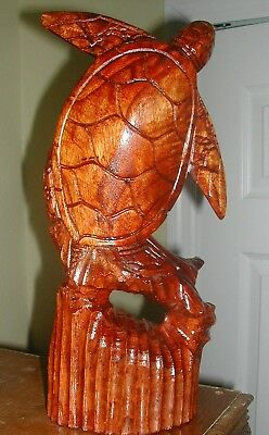 """Hand Carved 12 """"teak Wood Sea Turtle On Stained Natural  Teak Base Clear Coat"""