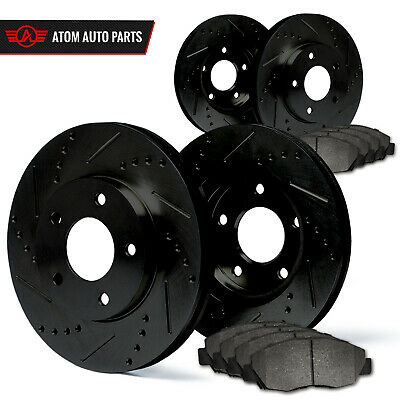 2003 2004 2005 Ford Crown Victoria (Black) Slot Drill Rotor Metallic Pads F+R