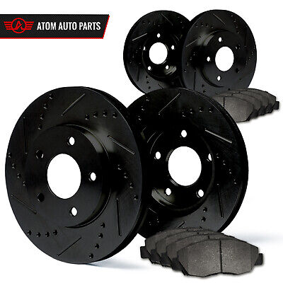 2006 2007 2008 Ford Crown Victoria (Black) Slot Drill Rotor Metallic Pads F+R
