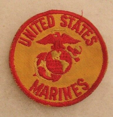 "Wwii ""united States Marines"" Red & Gold Twill Patch Gauze Back Style"