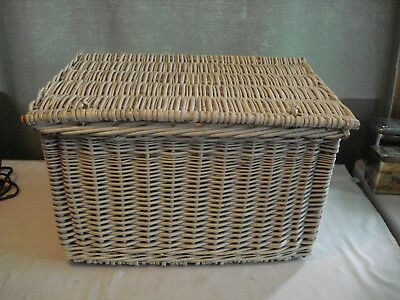 Vintage Woven Wicker Storage Blanket Chest Style Basket Painted White