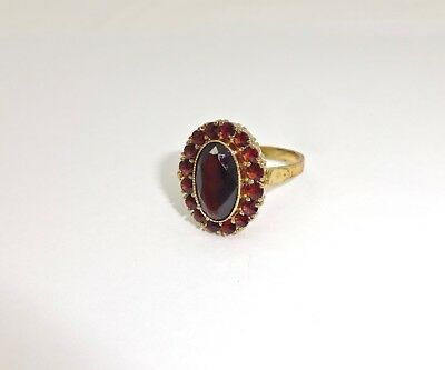 Vintage Austrian Gilt Sterling Silver Bohemian Garnet Cocktail Ring,9.5