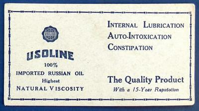 vintage 1920s± INK blotter USOLINE Imported Russian Oil CONSTIPATION Lubrication