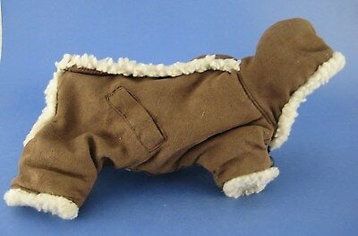 Brown Faux Suede Dog Coat with Hood Hook and Loop Closure Fur Trim Size Small