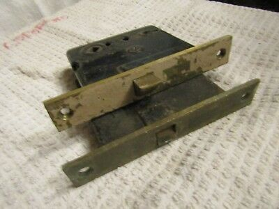 Antique Victorian Era Corbin & Sargent Skeleton Door Lock Set 2 Brass End Plates