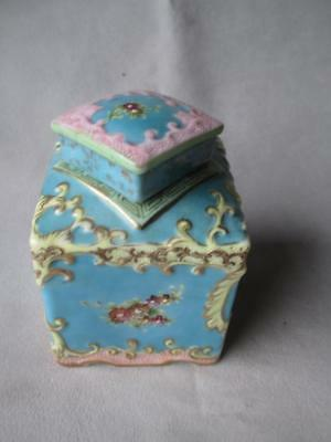 Beautiful Asian Square Porcelain Tea Jar