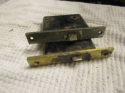 Antique Victorian Era Corbin Sargent ? Skeleton Door Lock Set 2 Brass End Plates