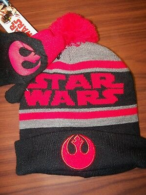 a9cdce4d0cd Star Wars Rebel Alliance Knit Hat Beanie Pom Ski Cap Gloves One Size Youth  NWT