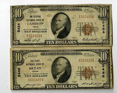 2 1929 $10 National Banknotes, First Ntl Bank Bryan Tx Citizens Ntl Bank Cameron