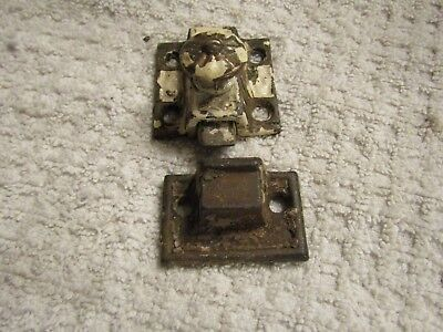 Antique Victorian Fancy Decorative Window Cabinet Latch Lock Match Set 1880s