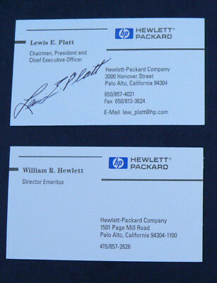 2 Authentic CEO Business Cards HP William Hewlett and Lewis Platt-Signed