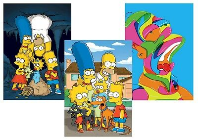 The SIMPSONS: Homer, Bart, Lisa, Marge, Maggie  A5 A4 A3 Textless Posters