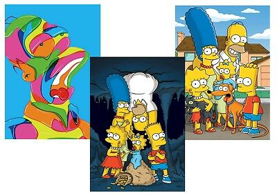 The SIMPSONS: Homer, Bart, Lisa, Marge, Maggie  A5 A4 A3 Textless Posters !!