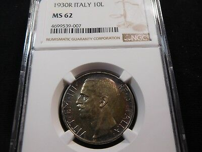 U24 Italy 1930-R 10 Lire NGC MS-62 Catalog Value UNC=$100