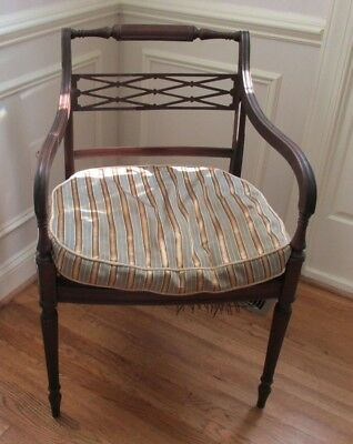 Antique Occasional Side Chair French Regency Caned Seat & Cushion