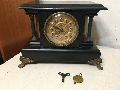 Rare Antique EN Welch Curved Sides Mantle Clock Project