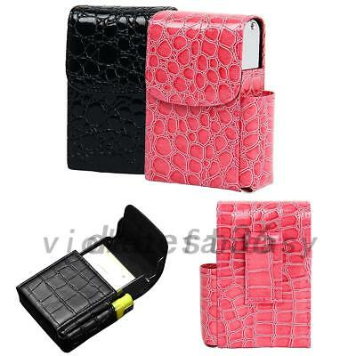 Black/Pink Cigarette Hard Case Pouch Leather Holder Wallet Purse Birthday Gift