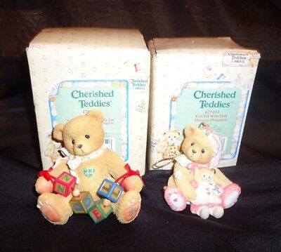 Lot of 2 Cherished Teddies Christmas ornaments Boxed Noel and girl elf with doll