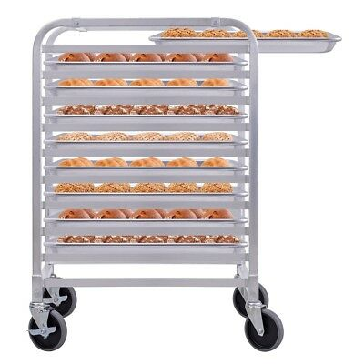 10 Sheet Aluminum Bakery Rack Rolling Commercial Cookie Bun Pan Open Silver US