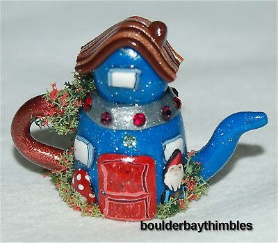 Boulder Bay Thimble -  HAND CRAFTED SHAPED BLUE TEAHOUSE with GNOME and CRYSTALS