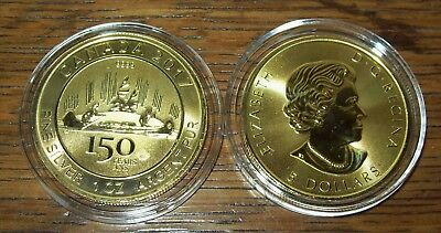 2017 $5 Canada 1 Oz Silver 150th Anniversary Voyageur Gold Gilded Coin