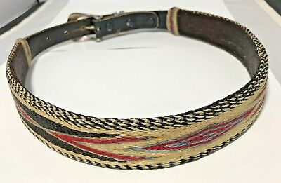 Fabulous Woven Horsehair & Leather Belt w/ Engraved Sterling Ranger Style Buckle