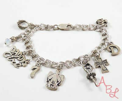 Sterling Silver Vintage 925 Beautiful Charmed Chain Bracelet 7'' (22.2g) 737528