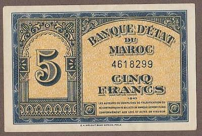 1943 Morocco 5 Franc Note