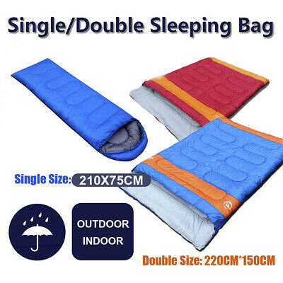 Single/Double Outdoor Camping Sleeping Bag Hiking Thermal Winter 220x85/150cm