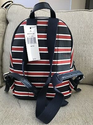 Tommy Hilfiger New Navy Blue, Red, And White Striped Backpack
