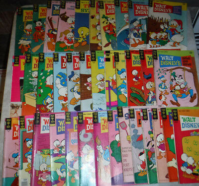 Vintage 1960's -1970's Walt Disney's Lot Of 36 Original Comic Books Made In Usa
