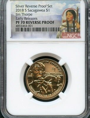 2018 S Sacagawea $1 Jim Thorpe REVERSE PROOF Early Releases NGC PF70 (RED)