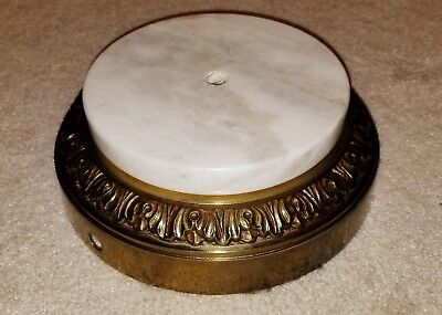 Vintage Antique Brass Cast Metal & Marble Table Lamp Base Part