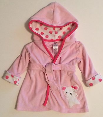 Infant Girl's Just One You Carter's Pink Bath Robe Beach Cover Up Size 0-9 month