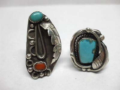 Lot of 2 Native American Sterling Silver Turquoise Rings