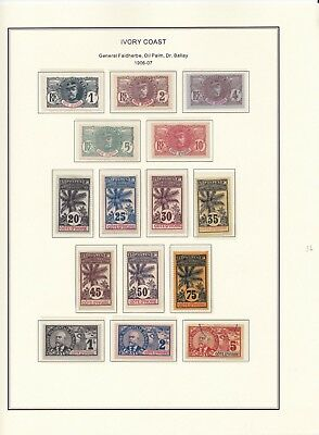 France Colonies Ivory Coast 1906-1935 on 3 Pages